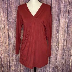 WILFRED Aritzia burnt Orange wrap style blouse S